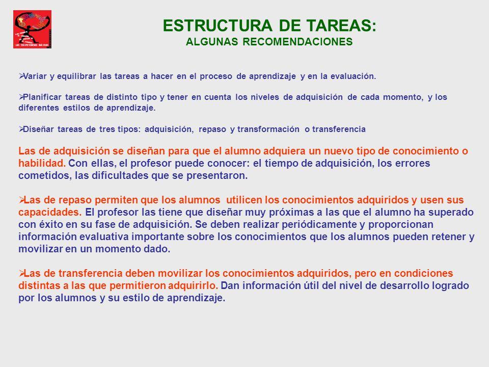 ESTRUCTURA DE TAREAS: ALGUNAS RECOMENDACIONES
