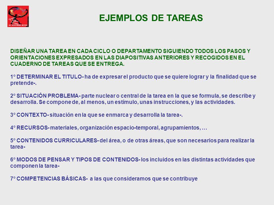 EJEMPLOS DE TAREAS