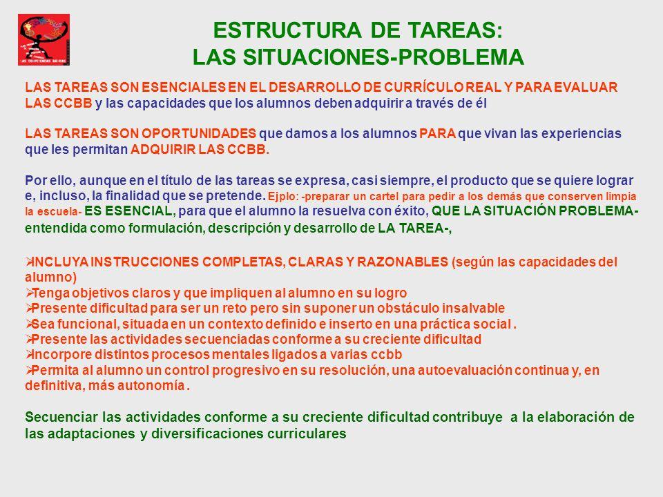 ESTRUCTURA DE TAREAS: LAS SITUACIONES-PROBLEMA