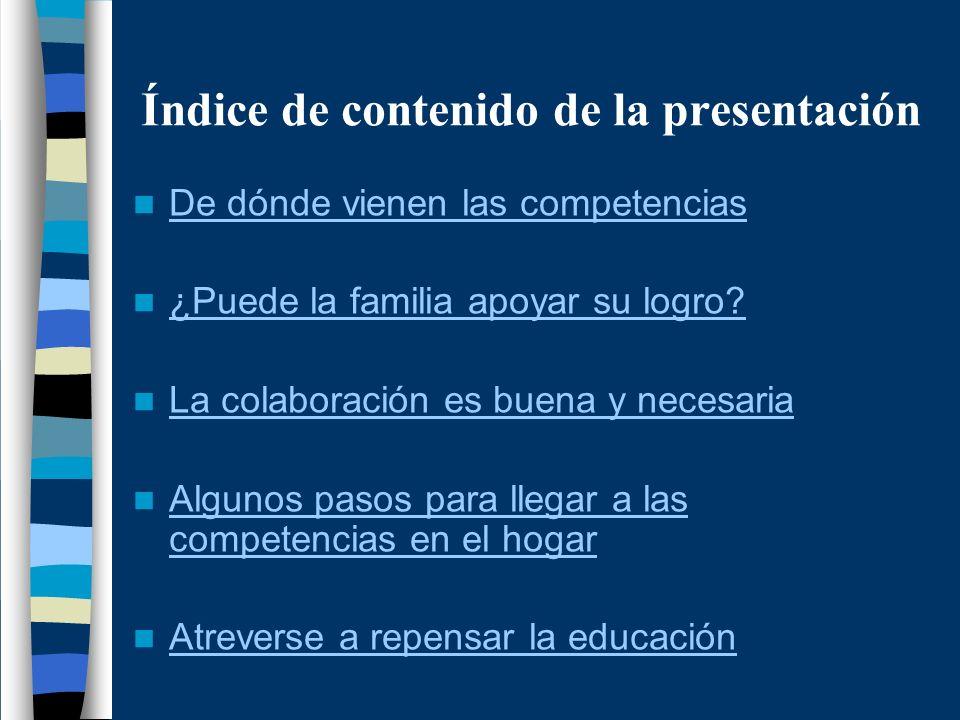 Índice de contenido de la presentación