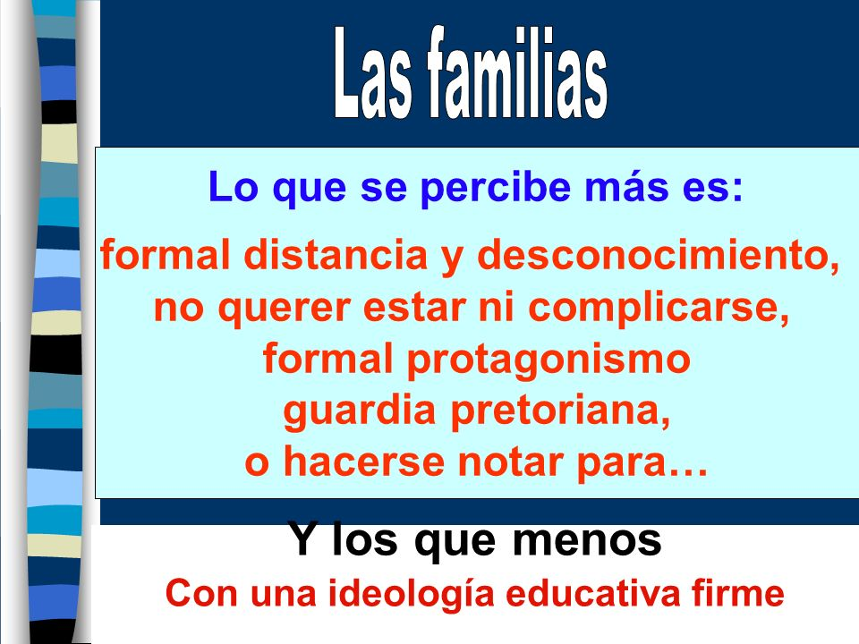 Y los que menos Las familias Lo que se percibe más es: