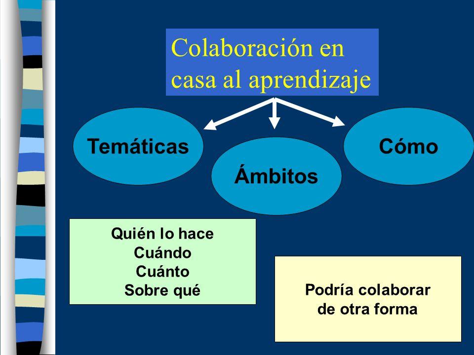 Colaboración en casa al aprendizaje