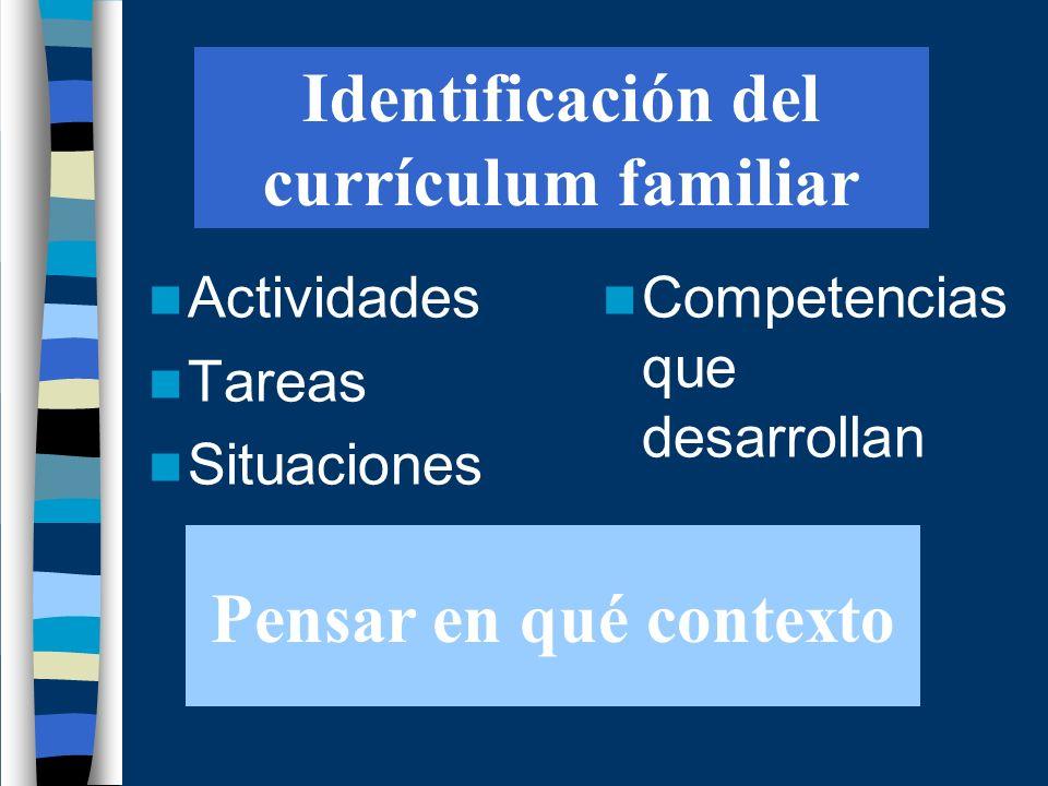 Identificación del currículum familiar