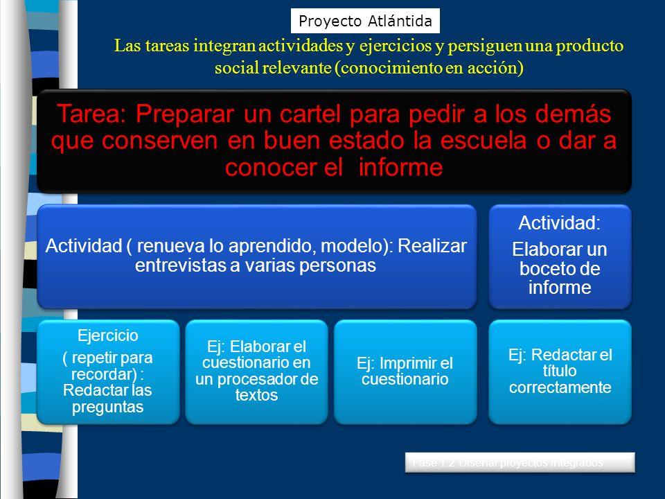 Proyecto Atlántida Las tareas integran actividades y ejercicios y persiguen una producto social relevante (conocimiento en acción)