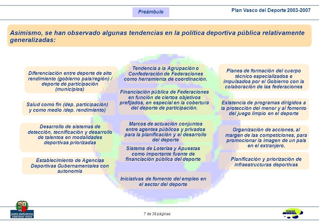 Preámbulo Asimismo, se han observado algunas tendencias en la política deportiva pública relativamente generalizadas: