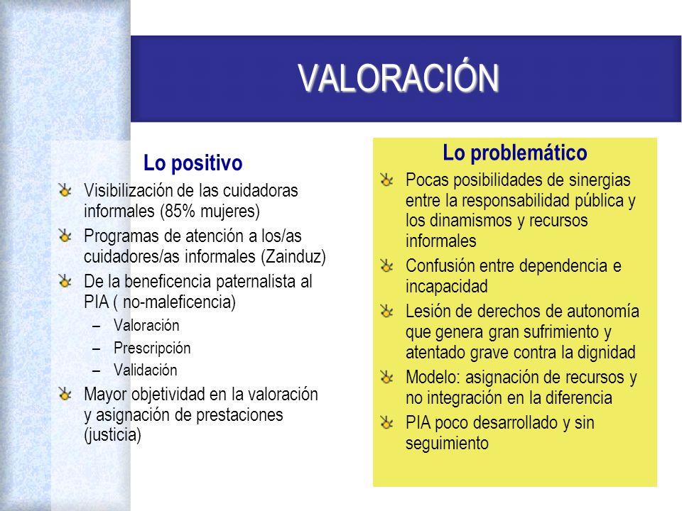 VALORACIÓN Lo problemático Lo positivo