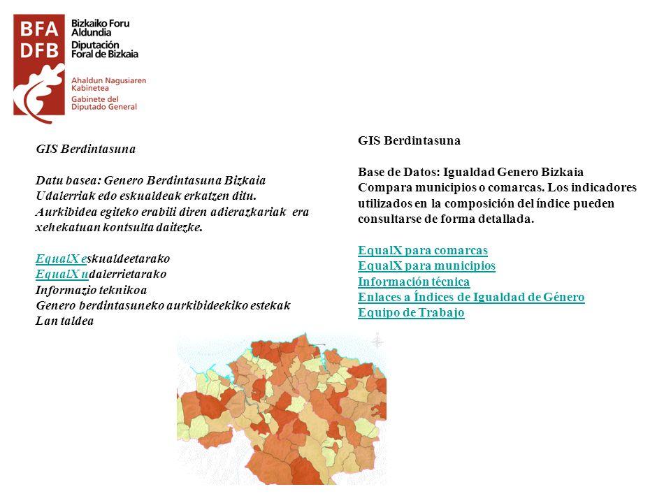GIS Berdintasuna Base de Datos: Igualdad Genero Bizkaia.