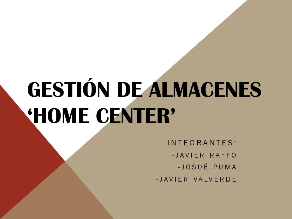 Gestión de Almacenes 'Home Center'