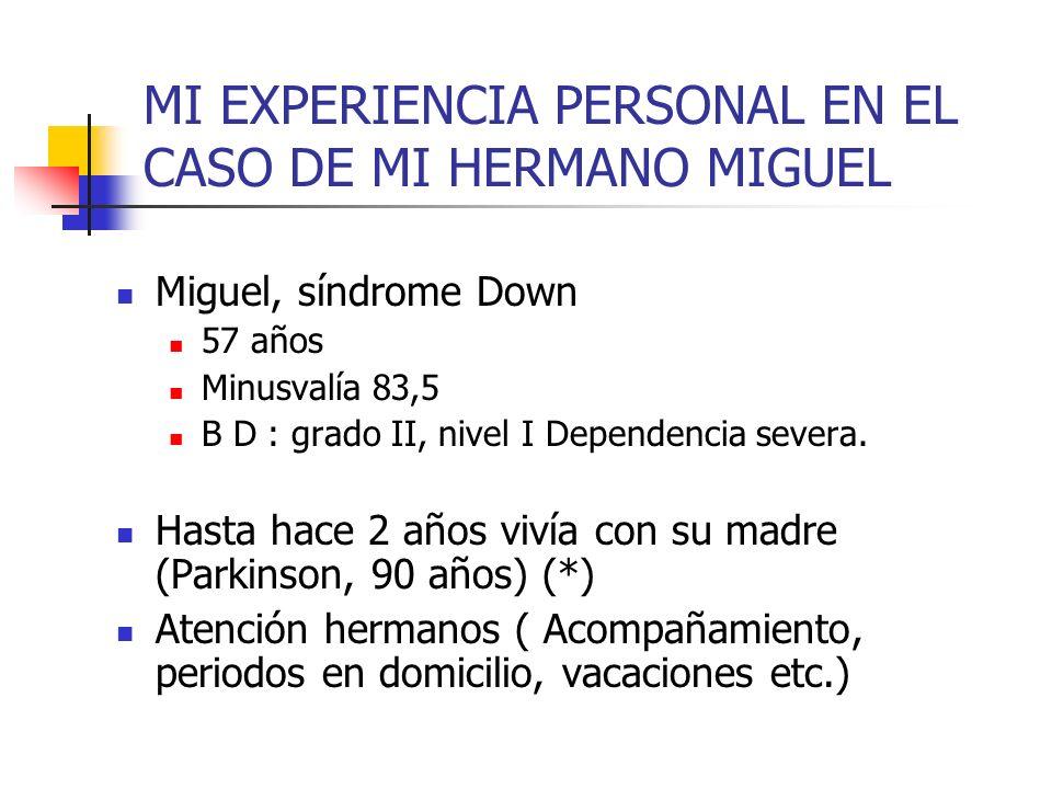 MI EXPERIENCIA PERSONAL EN EL CASO DE MI HERMANO MIGUEL