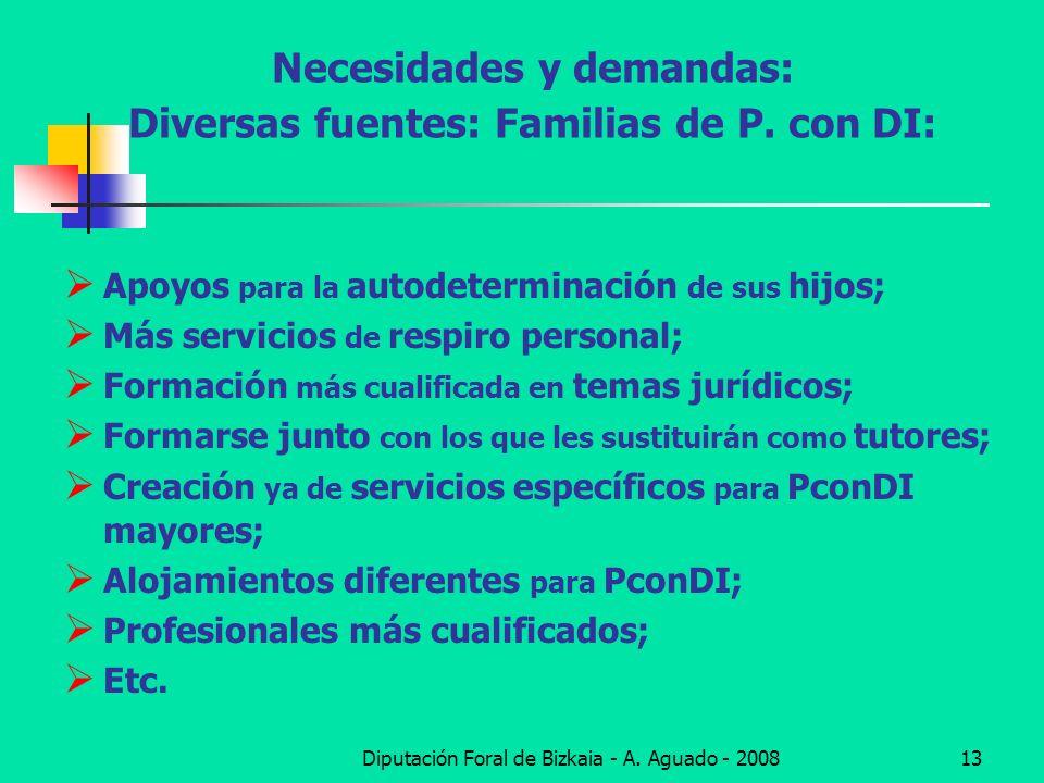 Necesidades y demandas: Diversas fuentes: Familias de P. con DI: