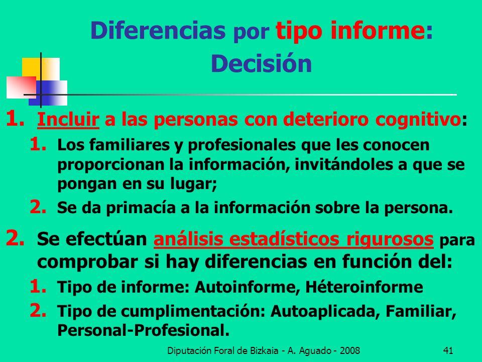 Diferencias por tipo informe: Decisión