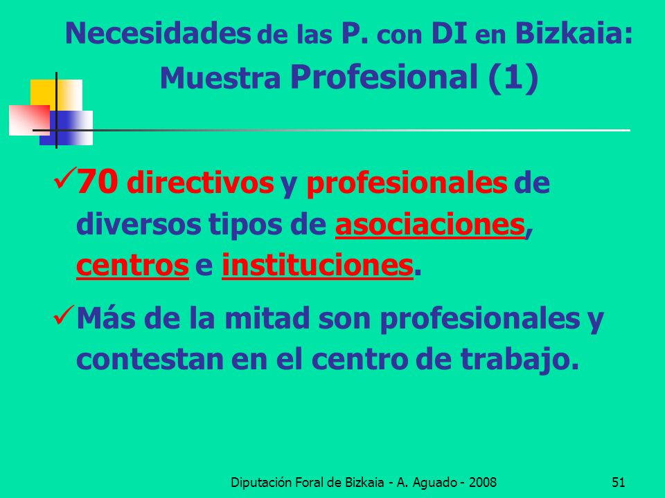 Necesidades de las P. con DI en Bizkaia: Muestra Profesional (1)
