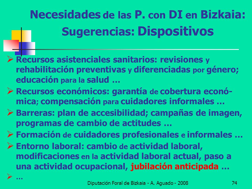 Necesidades de las P. con DI en Bizkaia: Sugerencias: Dispositivos