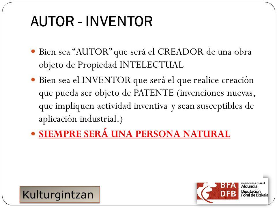 15/11/2011 AUTOR - INVENTOR. Bien sea AUTOR que será el CREADOR de una obra objeto de Propiedad INTELECTUAL.
