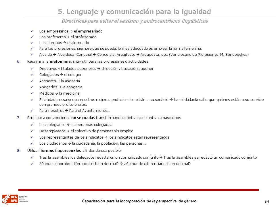 5. Lenguaje y comunicación para la igualdad