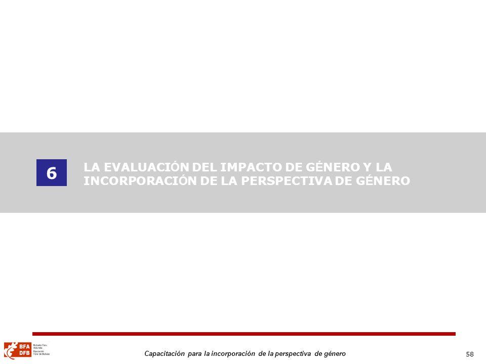 6 LA EVALUACIÓN DEL IMPACTO DE GÉNERO Y LA INCORPORACIÓN DE LA PERSPECTIVA DE GÉNERO