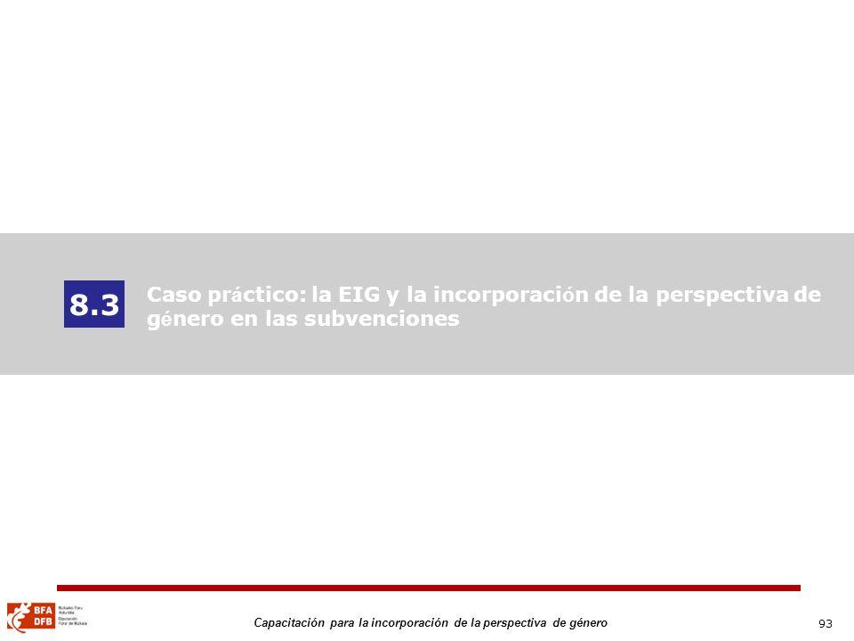 8.3 Caso práctico: la EIG y la incorporación de la perspectiva de género en las subvenciones