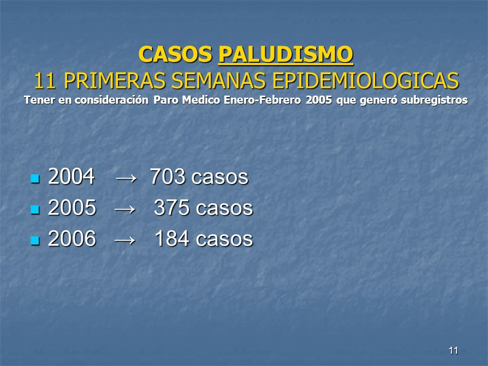 CASOS PALUDISMO 11 PRIMERAS SEMANAS EPIDEMIOLOGICAS Tener en consideración Paro Medico Enero-Febrero 2005 que generó subregistros