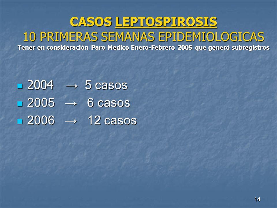 CASOS LEPTOSPIROSIS 10 PRIMERAS SEMANAS EPIDEMIOLOGICAS Tener en consideración Paro Medico Enero-Febrero 2005 que generó subregistros