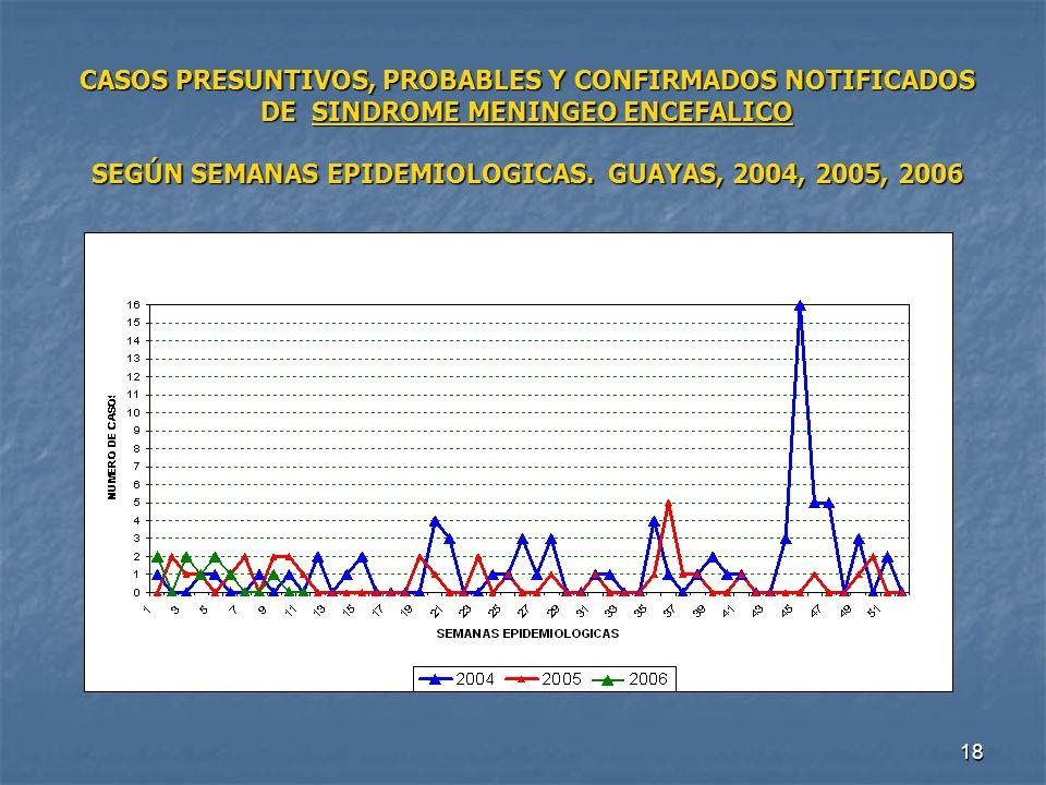 CASOS PRESUNTIVOS, PROBABLES Y CONFIRMADOS NOTIFICADOS DE SINDROME MENINGEO ENCEFALICO SEGÚN SEMANAS EPIDEMIOLOGICAS.