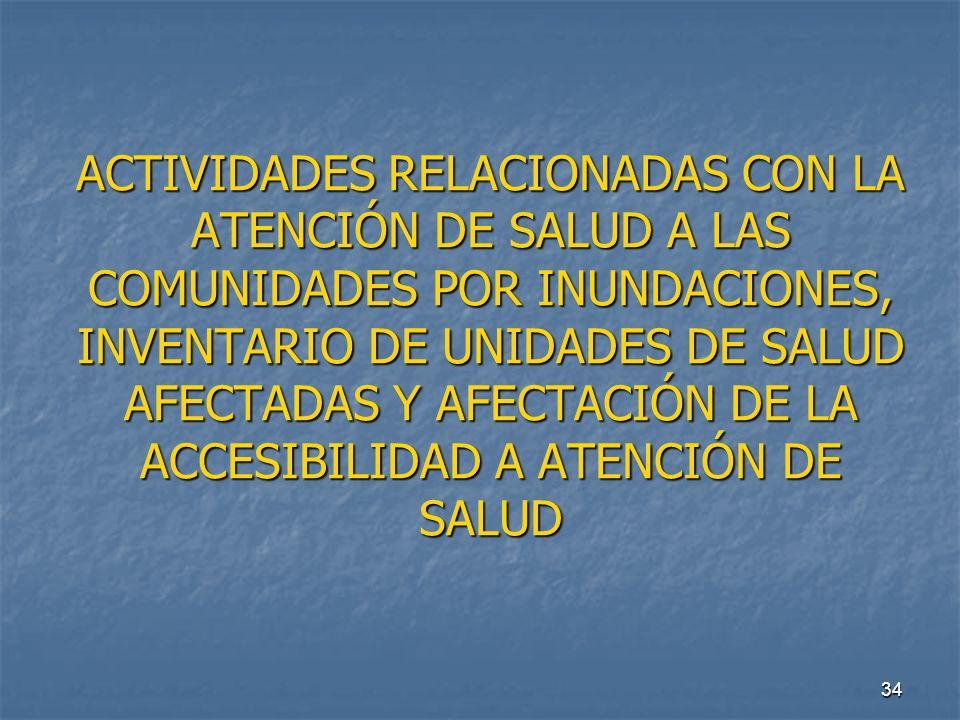 ACTIVIDADES RELACIONADAS CON LA ATENCIÓN DE SALUD A LAS COMUNIDADES POR INUNDACIONES, INVENTARIO DE UNIDADES DE SALUD AFECTADAS Y AFECTACIÓN DE LA ACCESIBILIDAD A ATENCIÓN DE SALUD