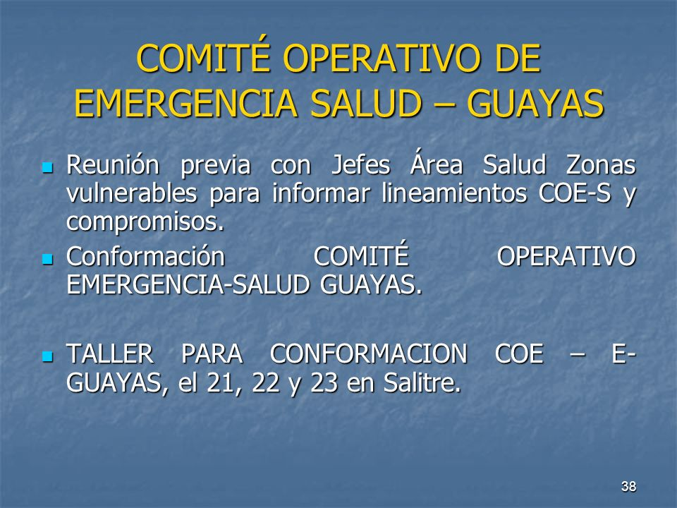 COMITÉ OPERATIVO DE EMERGENCIA SALUD – GUAYAS
