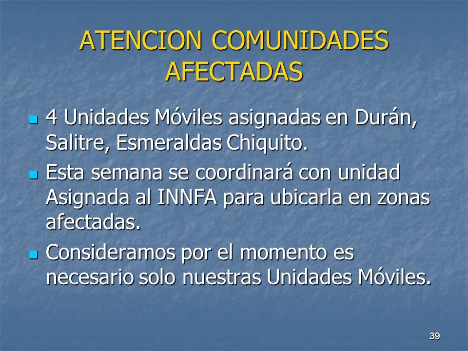 ATENCION COMUNIDADES AFECTADAS