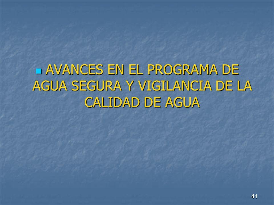 AVANCES EN EL PROGRAMA DE AGUA SEGURA Y VIGILANCIA DE LA CALIDAD DE AGUA
