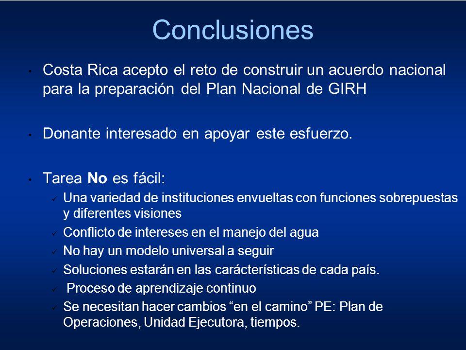 Conclusiones Costa Rica acepto el reto de construir un acuerdo nacional para la preparación del Plan Nacional de GIRH.