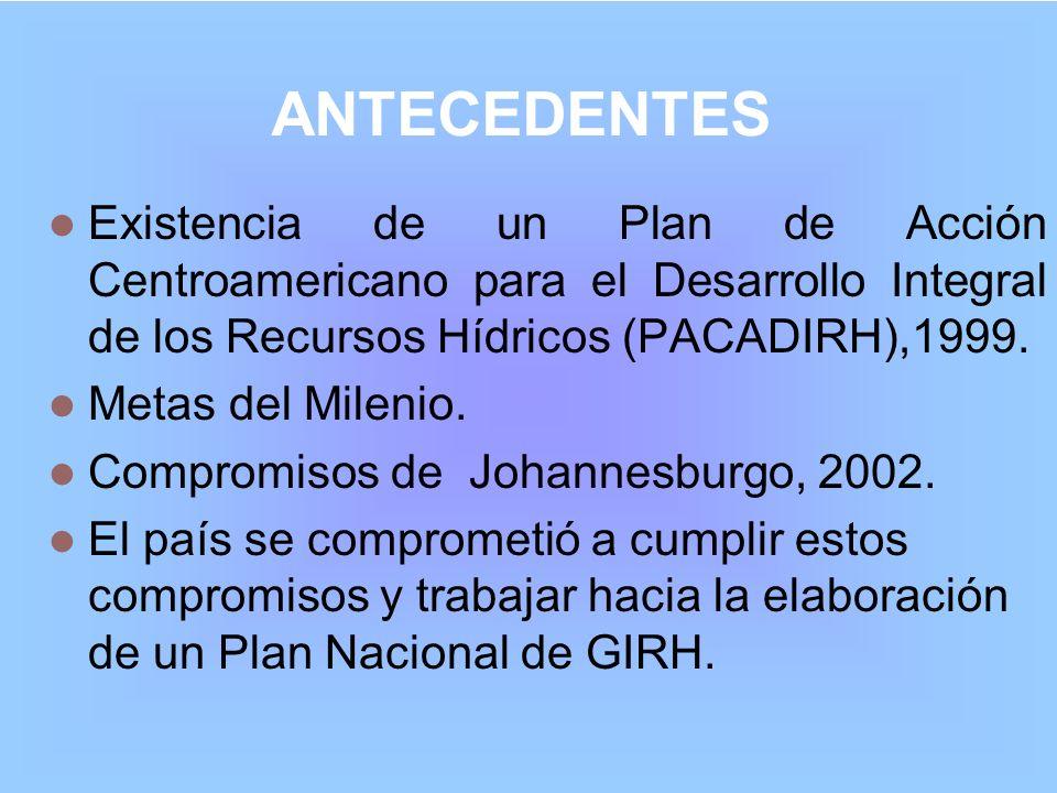 ANTECEDENTES Existencia de un Plan de Acción Centroamericano para el Desarrollo Integral de los Recursos Hídricos (PACADIRH),1999.