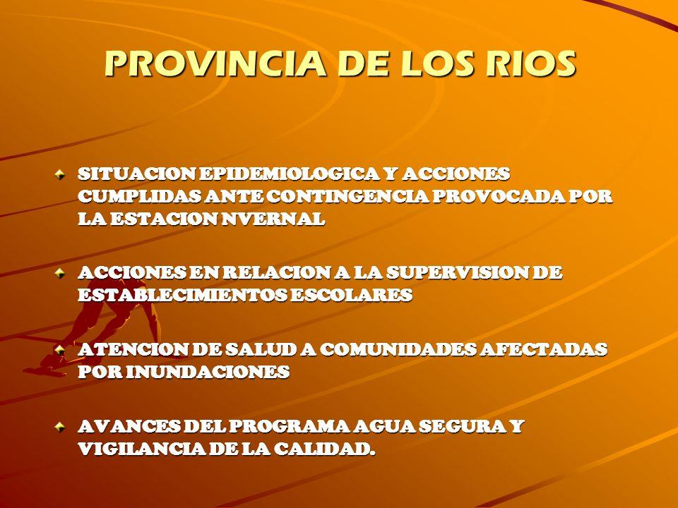 PROVINCIA DE LOS RIOS SITUACION EPIDEMIOLOGICA Y ACCIONES CUMPLIDAS ANTE CONTINGENCIA PROVOCADA POR LA ESTACION NVERNAL.