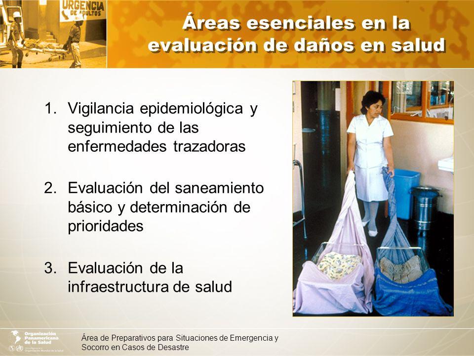 Áreas esenciales en la evaluación de daños en salud