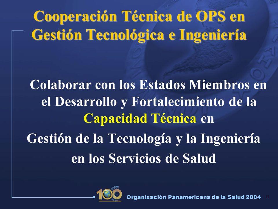Cooperación Técnica de OPS en Gestión Tecnológica e Ingeniería