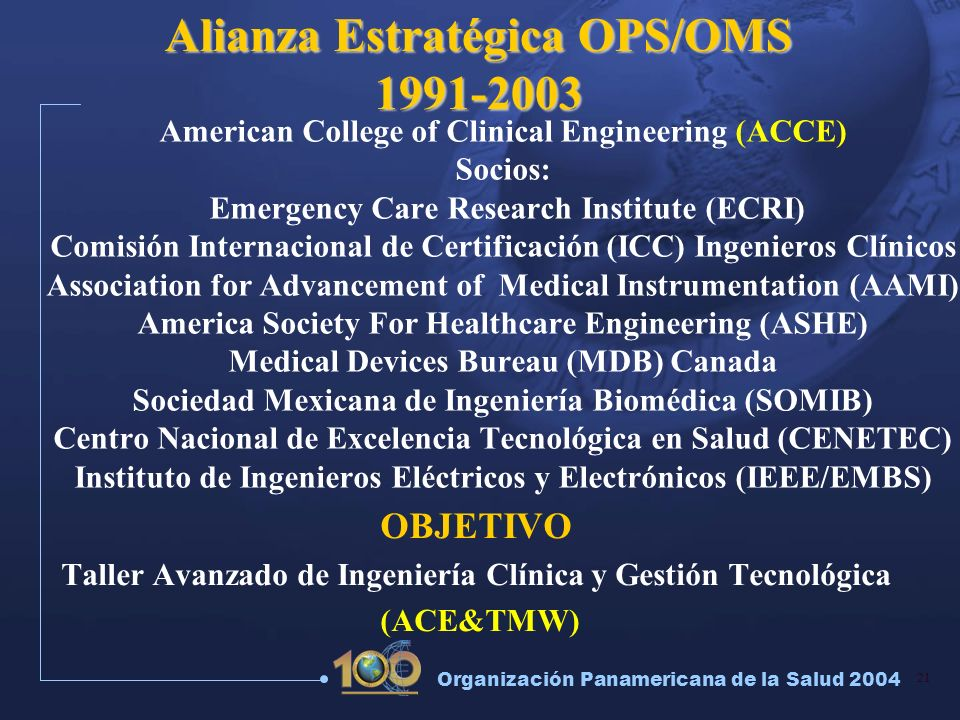 Alianza Estratégica OPS/OMS 1991-2003