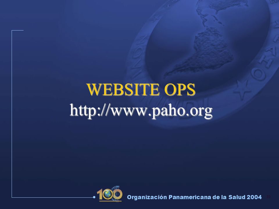 WEBSITE OPS http://www.paho.org