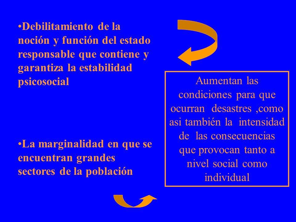 Debilitamiento de la noción y función del estado responsable que contiene y garantiza la estabilidad psicosocial