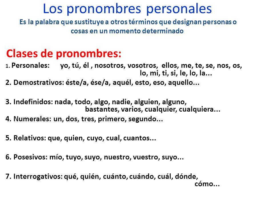 Los pronombres personales Es la palabra que sustituye a otros términos que designan personas o cosas en un momento determinado