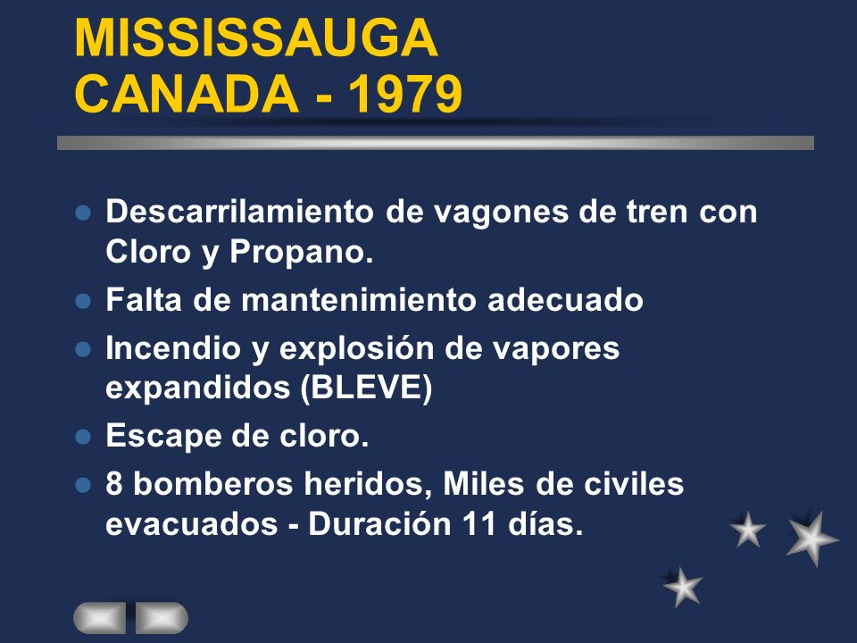MISSISSAUGA CANADA - 1979 Descarrilamiento de vagones de tren con Cloro y Propano. Falta de mantenimiento adecuado.