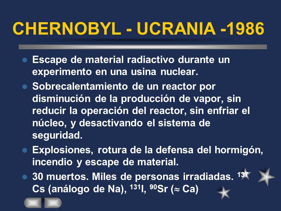 CHERNOBYL - UCRANIA -1986 Escape de material radiactivo durante un experimento en una usina nuclear.