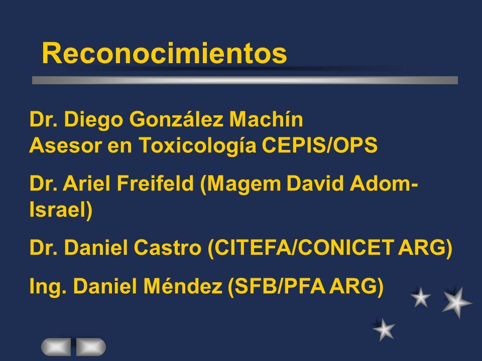 Reconocimientos Dr. Diego González Machín Asesor en Toxicología CEPIS/OPS. Dr. Ariel Freifeld (Magem David Adom- Israel)