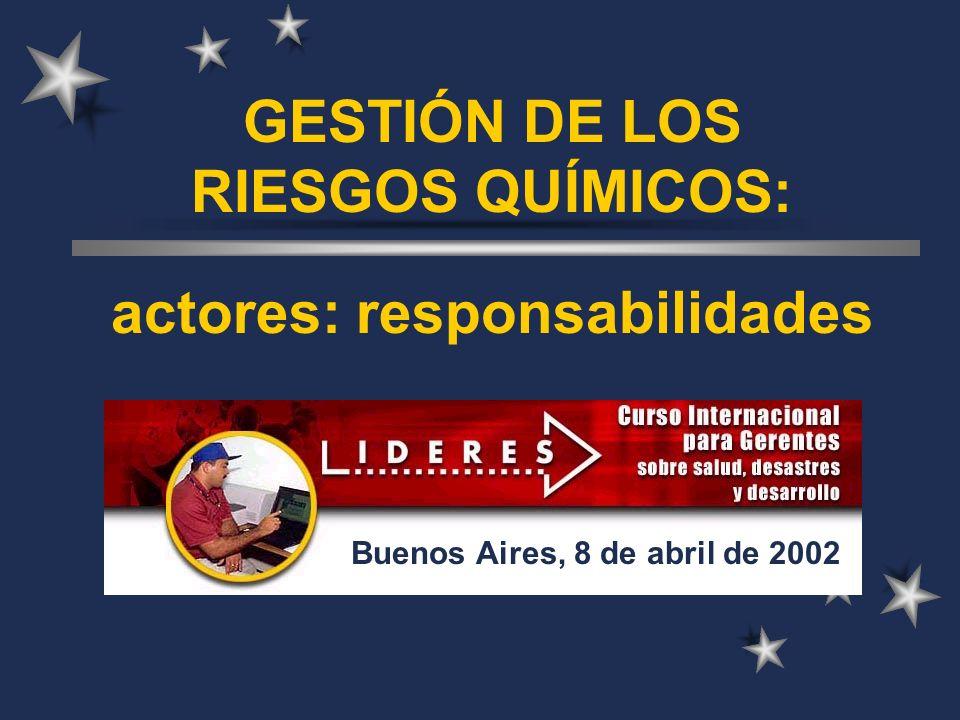 GESTIÓN DE LOS RIESGOS QUÍMICOS: actores: responsabilidades