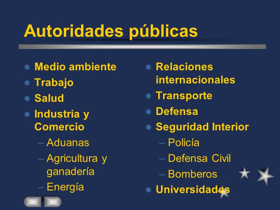 Autoridades públicas Medio ambiente Trabajo Salud Industria y Comercio