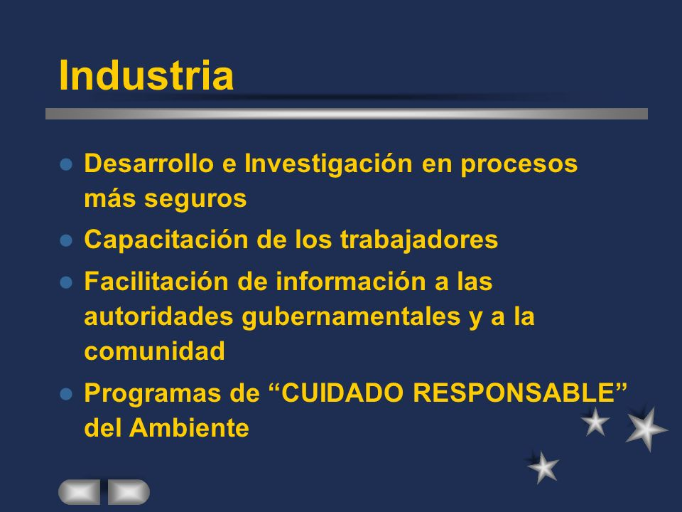 Industria Desarrollo e Investigación en procesos más seguros