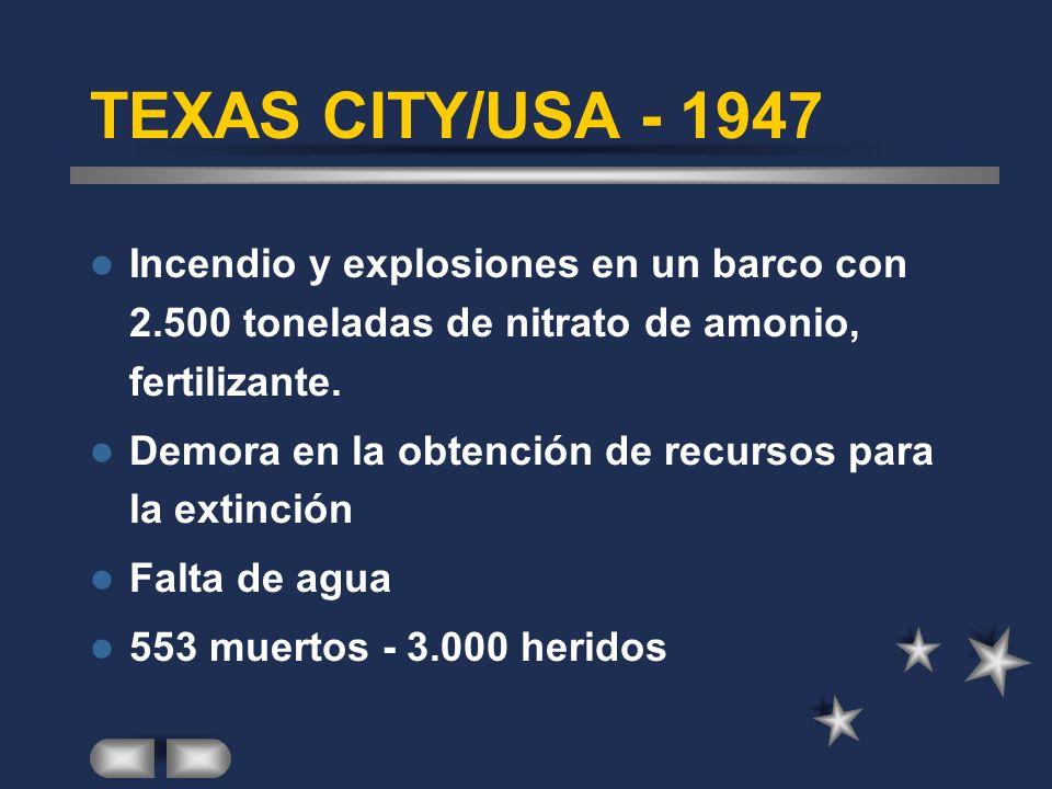 TEXAS CITY/USA - 1947 Incendio y explosiones en un barco con 2.500 toneladas de nitrato de amonio, fertilizante.