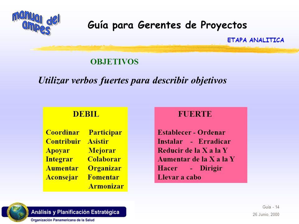 Utilizar verbos fuertes para describir objetivos