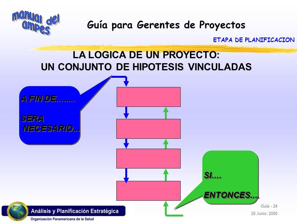 LA LOGICA DE UN PROYECTO: UN CONJUNTO DE HIPOTESIS VINCULADAS
