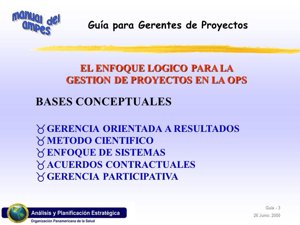 EL ENFOQUE LOGICO PARA LA GESTION DE PROYECTOS EN LA OPS