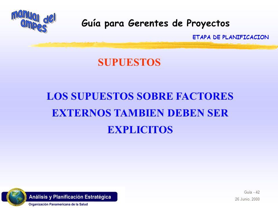 LOS SUPUESTOS SOBRE FACTORES EXTERNOS TAMBIEN DEBEN SER EXPLICITOS