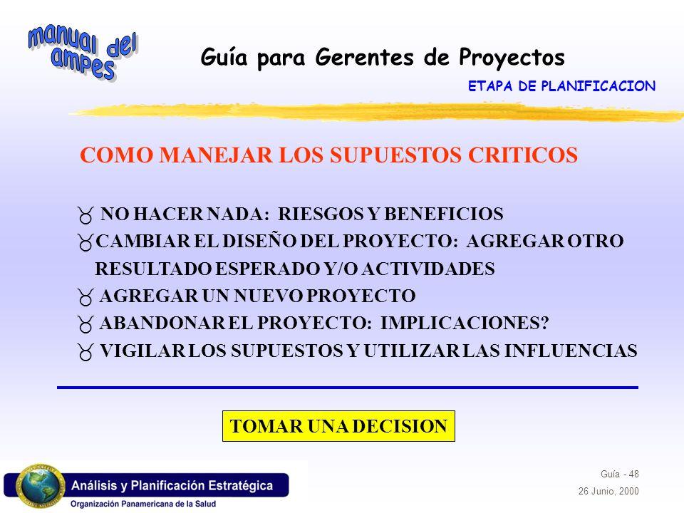 ETAPA DE PLANIFICACION COMO MANEJAR LOS SUPUESTOS CRITICOS