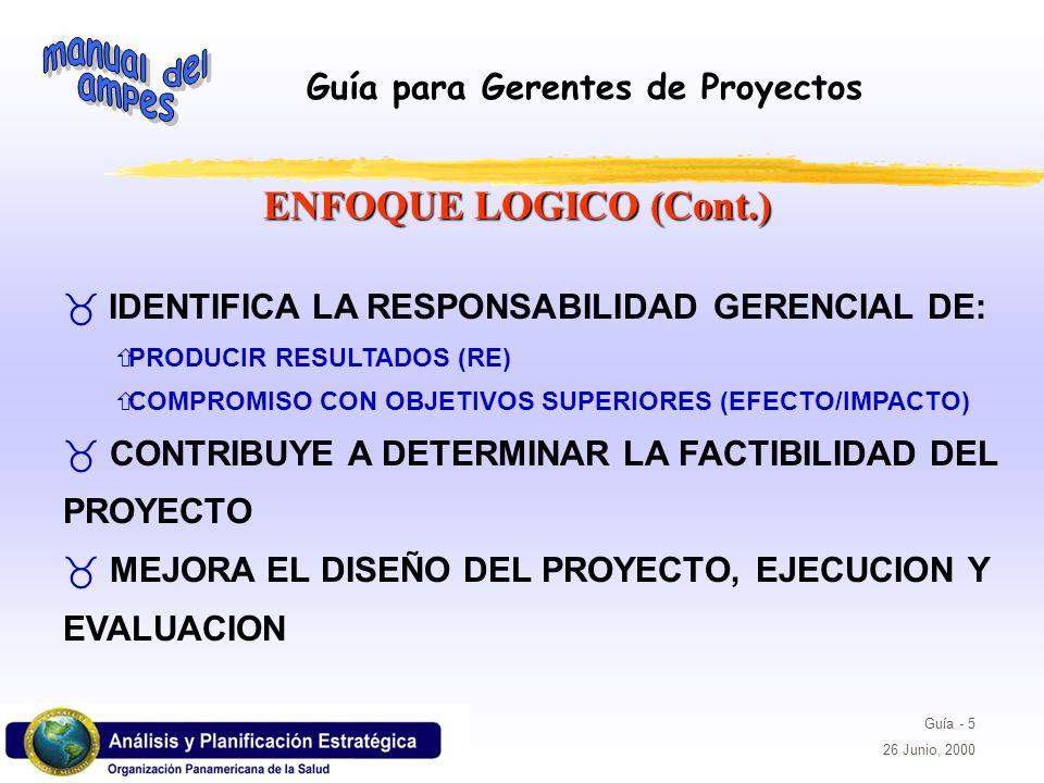 ENFOQUE LOGICO (Cont.) IDENTIFICA LA RESPONSABILIDAD GERENCIAL DE: